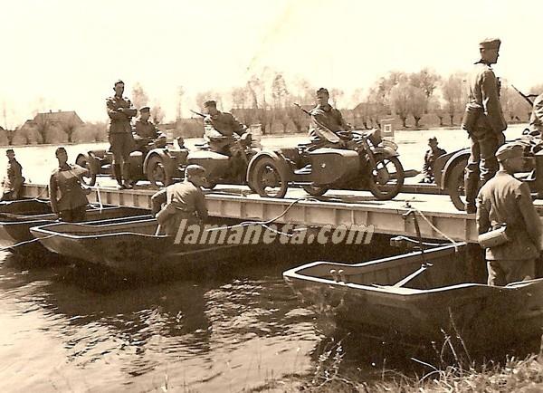 militares, militar, Alemania, sidecar, puente, ingenieros, rio, zapadores, motos