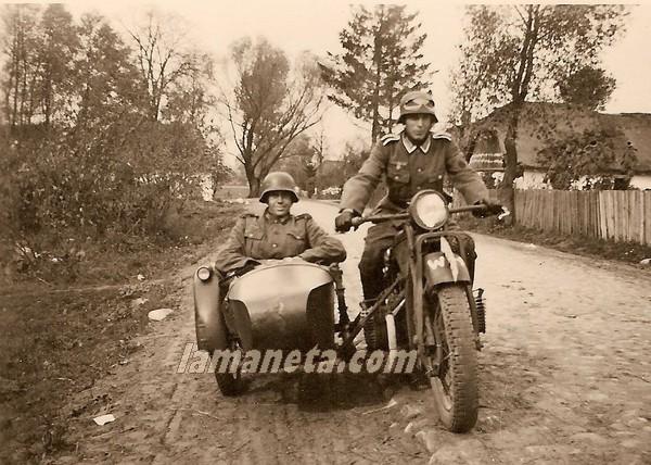 militares, militar, Alemania, circulando, sidecar, moto