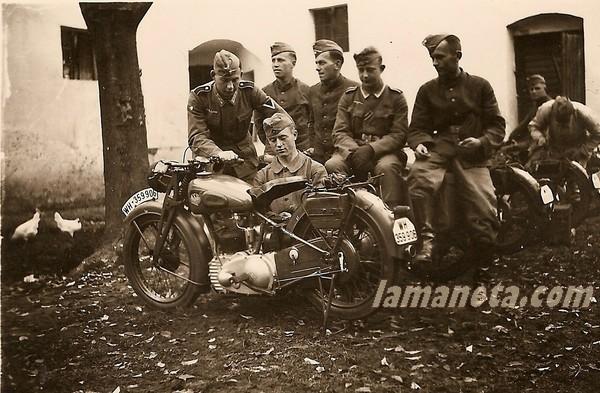 militares, militar, Alemania, NSU, soldados, motos