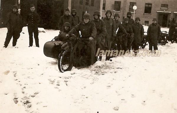 militares, militar, Alemania, nieve, sidecar, parada, motos