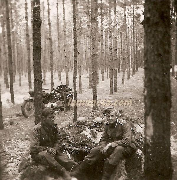 militares, militar, Alemania, bosque, arboles, sidecar, motos